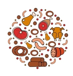 Meat and sausages icon set in round shape a vector