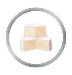 Soft cheese icon in cartoon style isolated on vector