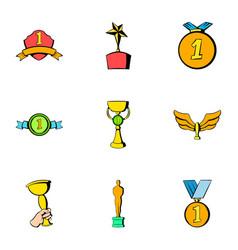 Achievement icons set cartoon style vector