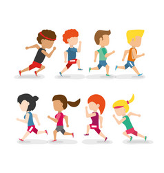 Athletes running in competition championship vector