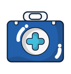 Briefcase with medical symbol and fist aid kit vector