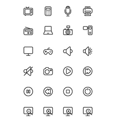 Media line icons 1 vector
