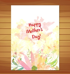 Mothers day card greeting retro watercolor vector