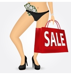 Woman legs on high heels holding shopping bag vector