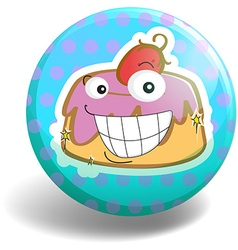 Cupcake on round badge vector