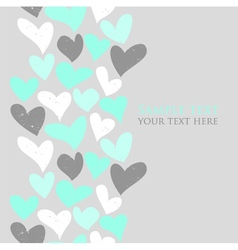 Mint green and grey cute hearts seamless text vector