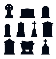 Tombs stone grave construction black and vector