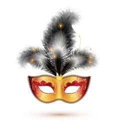 Golden carnival mask with black feathers vector