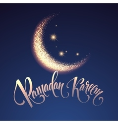 Ramadan Kareem greeting lettering card with moon vector image