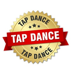 Tap dance 3d gold badge with red ribbon vector