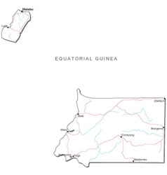 Equatorial guinea black white map vector