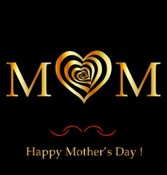Happy Mothers day card in gold vector image
