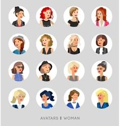 Cute cartoon human avatars set vector