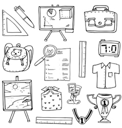 Hand draw clasroom supplies doodles vector