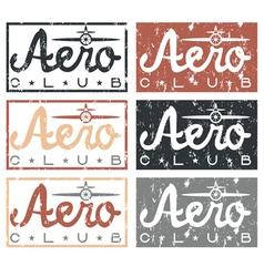 Aero club quote on vintage grunge labels set vector