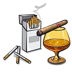 alcohol and cigarettes vector image vector image