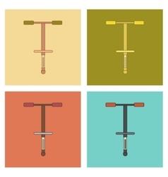 Assembly flat icons kids toy pogo stick vector