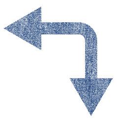 bifurcation arrow left down fabric textured icon vector image vector image