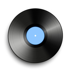 black vinyl record isolated on white background vector image