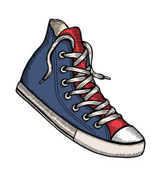 blue sneakers and ink spots vector image