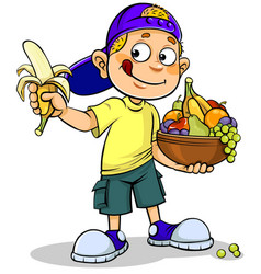 boy and fruits vector image vector image