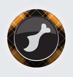 Button orange black tartan - gnawed chicken leg vector