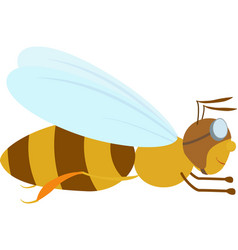 cartoon bee in aviator glasses vector image vector image