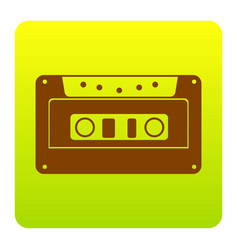 Cassette icon audio tape sign brown icon vector