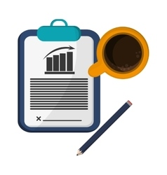 clipboard contract pencil cup coffee vector image