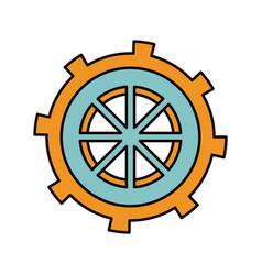 Color sketch silhouette gear wheel in shape boat vector