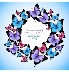 Colorful butterflies circle frame pattern vector