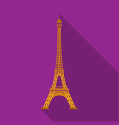eiffel tower icon in flat style isolated on white vector image vector image