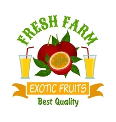 Exotic passion fruits with juice isolated badge vector image