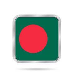 Flag of bangladesh metallic gray square button vector