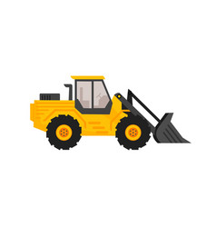 Front end loader flat cartoon style construction vector