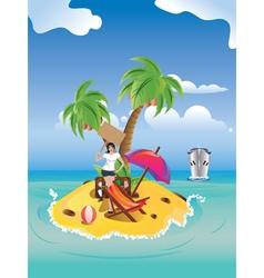 Girl on tropical island vector