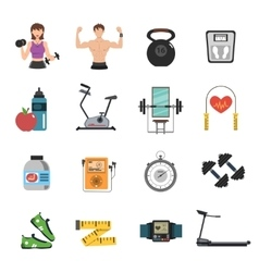 Gym Icon Flat Set vector image
