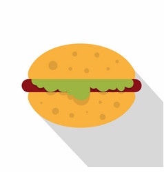 Hamburger with salad icon flat style vector
