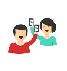happy couple man and woman holding mobile phones vector image
