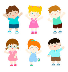 happy kids variety nationality cartoon vector image