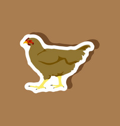 hen paper sticker on stylish background vector image vector image