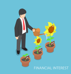 Isometric businessman watering different size of vector