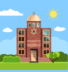 jewish synagogue icon vector image