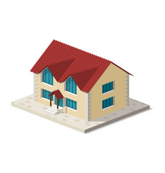 little isometric house with shadow on white vector image vector image