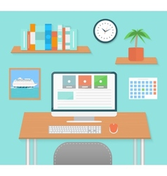 Modern office interior with designer desktop vector