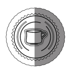 Monochrome sticker round frame with porcelain mug vector
