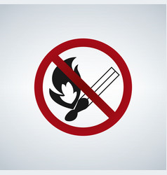 no open flame no fire sign vector image