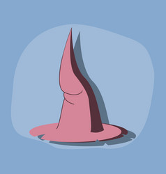 Paper sticker on stylish background witch hat vector