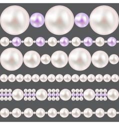 Pearl Realistic Borders Set vector image