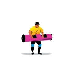 Powerful muscular man lifting weights sign vector
